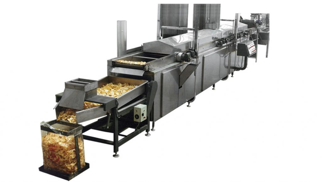 Freidora para frito contínuo de patatas fritas